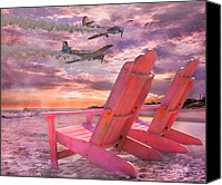 Chairs Canvas Prints - Beach Flight II  Canvas Print by East Coast Barrier Islands Betsy A Cutler