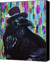 Greens  Mixed Media Canvas Prints - Beautiful Dreamer Black Raven Crow 8x10 mixed media by Jaime Haney Canvas Print by Jaime Haney