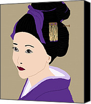 Kate Farrant Canvas Prints - Beautiful Geisha in Purple Canvas Print by Kate Farrant