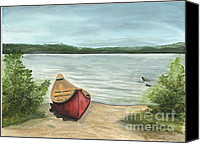 Boat Special Promotions - Beauty Lake Canvas Print by Janis  Cornish