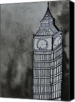 Black And White Painting Special Promotions - Big Ben Canvas Print by Shruti Shubham