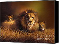 Lion Digital Art Canvas Prints - Big Daddy Canvas Print by Robert Foster