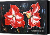 Amarillys Canvas Prints - Big Red Amarillys Canvas Print by Ilona Tigges - Goetze