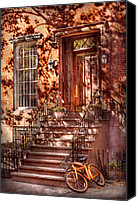 Greenwich Canvas Prints - Bike - NY - Greenwich Village - An orange bike  Canvas Print by Mike Savad