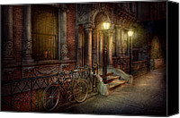Pillars Canvas Prints - Bike - NY - Greenwich Village - In the village  Canvas Print by Mike Savad