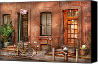 Nyc Photo Canvas Prints - Bike - NY - Urban - Two complete bikes Canvas Print by Mike Savad