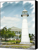 Joan Mccool Canvas Prints - Biloxi Lighthouse Sketch Photo Canvas Print by Joan McCool