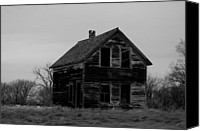 Old Houses Canvas Prints - Black And White Forlorned Canvas Print by Jeff  Swan