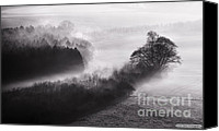 Simon Bratt Photography Canvas Prints - Black and white mist landscape Canvas Print by Simon Bratt Photography