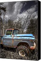 Autumn Scenes Canvas Prints - Blue Chevy Truck Canvas Print by Debra and Dave Vanderlaan