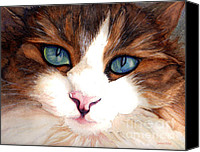 Brown Tiger Painting Canvas Prints - Blue Eyed Cat Portrait Canvas Print by Janine Riley