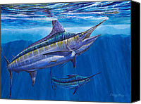 Dolphin Canvas Prints - Blue Marlin Bite Canvas Print by Carey Chen