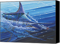 Grouper  Canvas Prints - Blue Marlin strike Canvas Print by Carey Chen