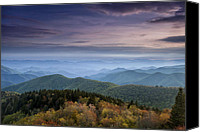 Evergreen Canvas Prints - Blue Ridge Mountains at Dusk Canvas Print by Andrew Soundarajan