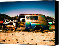 Sonja Quintero Canvas Prints - Blue Rusty Truck Canvas Print by Sonja Quintero