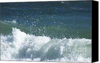 Green Pyrography Canvas Prints - Blue Waves Canvas Print by Adspice Studios
