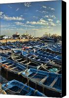Morocco Canvas Prints - Boats in Essaouira Morocco harbor Canvas Print by David Smith