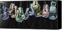 Glove Mixed Media Canvas Prints - Boxing Gloves Canvas Print by Tony Rubino