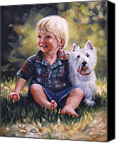 Scottie Dog Canvas Prints - Boy and his dog Canvas Print by Janet McGrath
