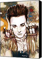 Art Of Soul Singer Canvas Prints - Boy George long stylised drawing art poster Canvas Print by Kim Wang