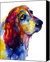 Hound Canvas Prints - Brilliant Basset Hound watercolor painting Canvas Print by Svetlana Novikova
