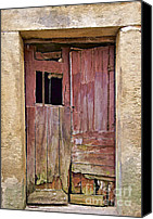 Entrance Door Photo Special Promotions - Broken Red Wood Door Canvas Print by David Letts