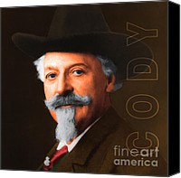 The American Buffalo Canvas Prints - Buffalo Bill Cody 20130516 square with text Canvas Print by Wingsdomain Art and Photography