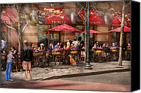 Umbrellas Canvas Prints - Cafe - Hoboken NJ - Cafe Trinity  Canvas Print by Mike Savad