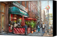 Tables Canvas Prints - Cafe - Hoboken NJ - Vitos Italian Deli  Canvas Print by Mike Savad