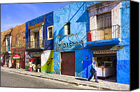 Mark Tisdale Canvas Prints - Calm and Colorful Street in Puebla Canvas Print by Mark E Tisdale