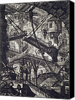 Ruin Drawings Canvas Prints - Carceri VII Canvas Print by Giovanni Battista Piranesi