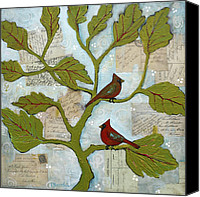Notes Canvas Prints - Cardinal Bird Notes Canvas Print by Blenda Tyvoll