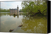 Lake Photo Special Promotions - Castle along a lake in spring Canvas Print by Jan Marijs