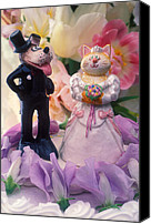 Dogs Canvas Prints - Cat and dog bride and groom Canvas Print by Garry Gay