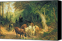 Featured Canvas Prints - Cattle watering in a wooded landscape Canvas Print by Friedrich Johann Voltz