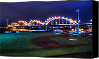 League Photo Canvas Prints - Centennial Bridge and Modern Woodmen Park Canvas Print by Scott Norris