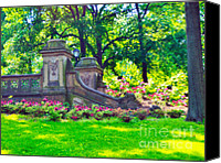 Landscapes Pastels Canvas Prints - Central Park Rhododendrons Canvas Print by Magna Carta