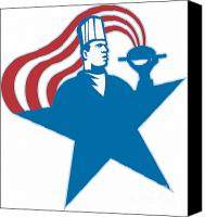 Star Man Canvas Prints - Chef Cook Baker Serving Hot Food Stars Stripes Canvas Print by Aloysius Patrimonio