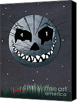 Man In The Moon Canvas Prints - Cheshire Moon by Shawna Erback Canvas Print by Shawna Erback