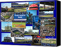 Mlb Digital Art Canvas Prints - Chicago Cubs Collage Canvas Print by Thomas Woolworth