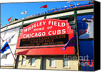 Mlb Photo Canvas Prints - Chicago Cubs Marquee Sign Canvas Print by Thomas Woolworth