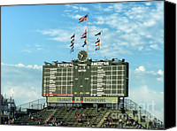 Mlb Photo Canvas Prints - Chicago Cubs Scoreboard 02 Canvas Print by Thomas Woolworth