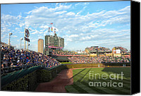 Mlb Photo Canvas Prints - Chicago Cubs Scoreboard 03 Canvas Print by Thomas Woolworth