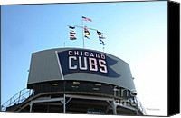 Mlb Photo Canvas Prints - Chicago Cubs Signage Canvas Print by Thomas Woolworth