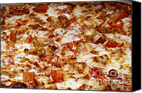 Yummy Food Canvas Prints - Chicken And Diced Tomato 2 - Pizza - Pizza Shoppe Canvas Print by Andee Photography