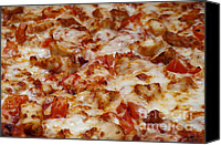 Yummy Food Canvas Prints - Chicken And Diced Tomato - Pizza - Pizza Shoppe Canvas Print by Andee Photography