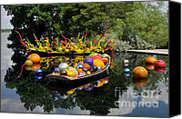 Colorful Glass Art Canvas Prints - Chihuly - Infinity Boats Canvas Print by Cheryl McClure