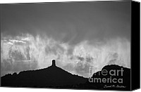 Dave Digital Art Canvas Prints - Chimney Rock and Clouds Canvas Print by Dave Gordon
