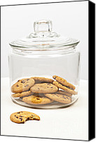 Temptation Canvas Prints - Chocolate chip cookies in jar Canvas Print by Elena Elisseeva