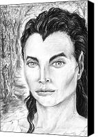 Unique Art Drawings Canvas Prints - Christy Turlington as Luthien Tinuviel Canvas Print by Richard Claraval